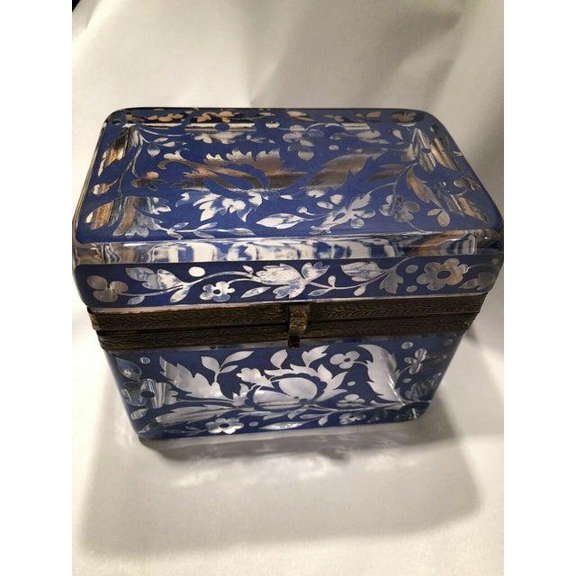 Antique Bohemian Glass Sugar Casket/ Jewelry/Vanity/Trinket Box For Sale - Image 11 of 13