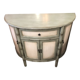 Classic Home Demilune Console Cabinet With Pale Green Bamboo Motif For Sale