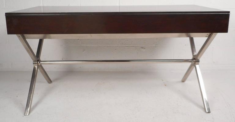 large contemporary modern chrome x base desk chairish rh chairish com chrome x base desk x base desk diy
