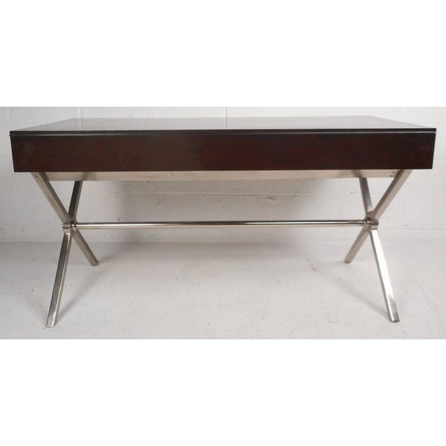 "Large Contemporary Modern Chrome ""X"" Base Desk - Image 6 of 10"