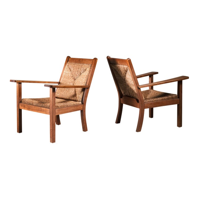 Pair of Willi Ohler Chairs in Oak and Original Rush, Germany, 1920s For Sale