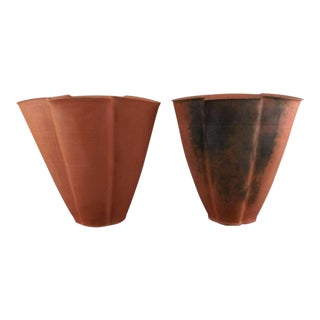 Art Deco Danish Svend Hammershøi Large Unglazed Earthenware Vases - a Pair For Sale