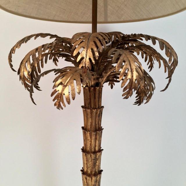 Hollywood Regency Gilt Metal Palm Tree Lamp For Sale - Image 3 of 7