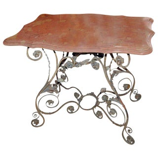 19th Century Marble & Iron Garden Table