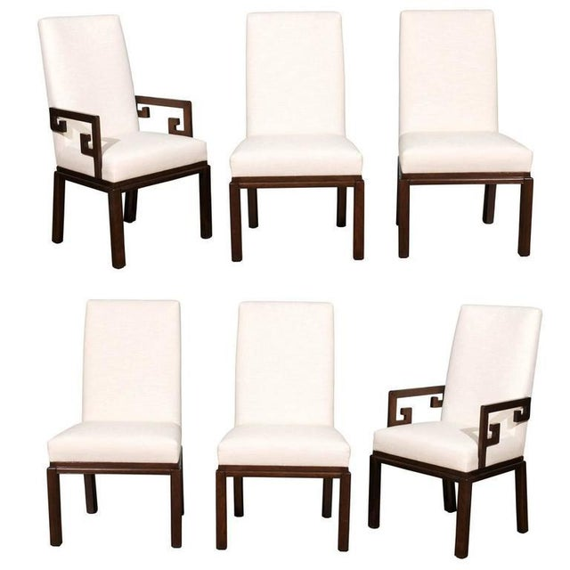 Rare Restored Set of Six Parsons Style Dining Chairs by Baker For Sale - Image 11 of 11