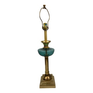 Vintage Aqua Glass and Brass Lamp For Sale