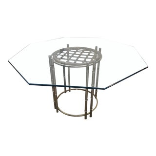 Daystrom Glass Top Brass Bamboo & Rattan Table