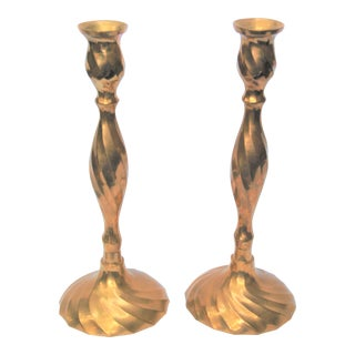 Vintage Brass Candlesticks - A Pair