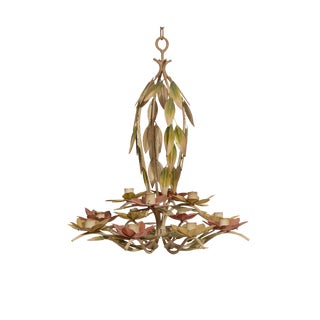 1960s Green and Pink Tole Floral Candle Chandelier For Sale