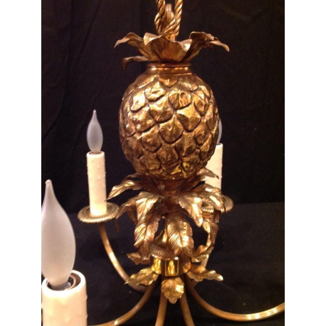 Maison Charles 1960's Maison Charles Brass Pineapple Chandelier For Sale - Image 4 of 8
