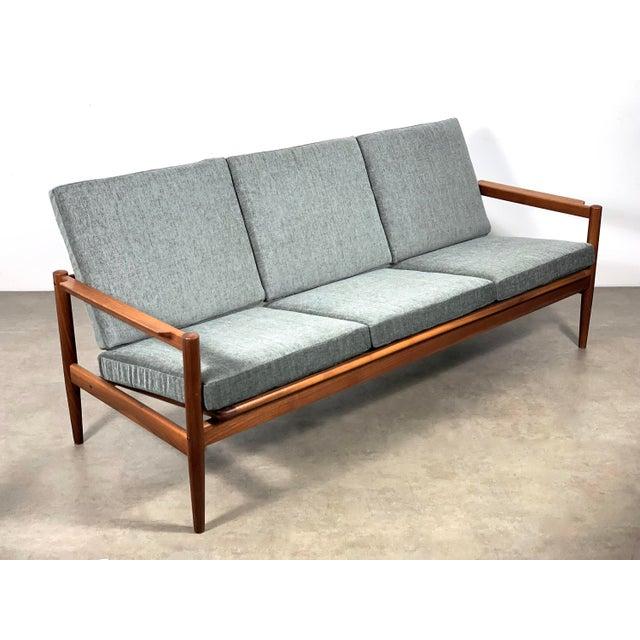 Teak 1950s Vintage Borge Jensen Teak Frame Gray Three Seat Sofa For Sale - Image 7 of 11