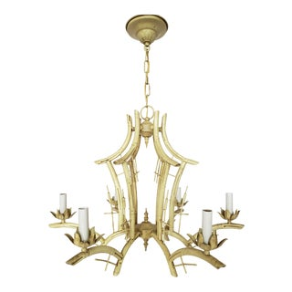 Vintage Chinoiserie Faux Bamboo Tole Pagoda Chandelier For Sale