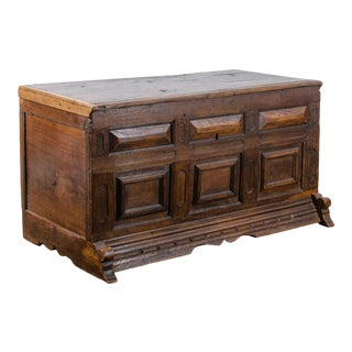 Provencial Spanish Oak Paneled Coffer, C.17th Century For Sale
