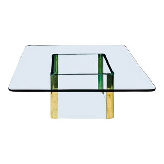 Vintage Rectangular Coffee Table by Leon Rosen for Pace in Brass and Glass. For Sale