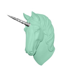 "Wall Charmers ""The Luna"" Faux Mint Green + Silver Horn Magical Unicorn Head Wall Hanging For Sale"