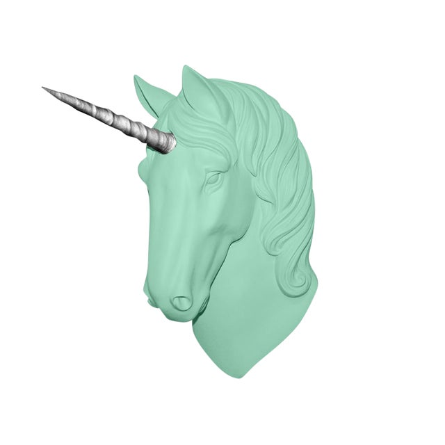 """Wall Charmers """"The Luna"""" Faux Mint Green + Silver Horn Magical Unicorn Head Wall Hanging For Sale"""