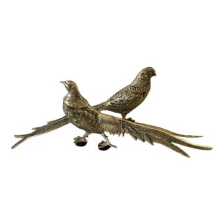 Vintage Silver-Plated Pheasant Figurines - a Pair For Sale
