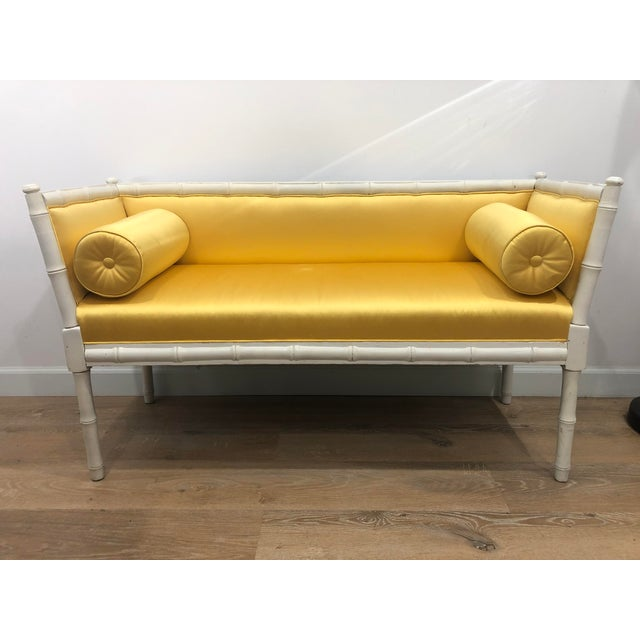 Hollywood Regency Vintage Mid-Century Faux Bamboo & Gold Satin Bench For Sale - Image 3 of 9