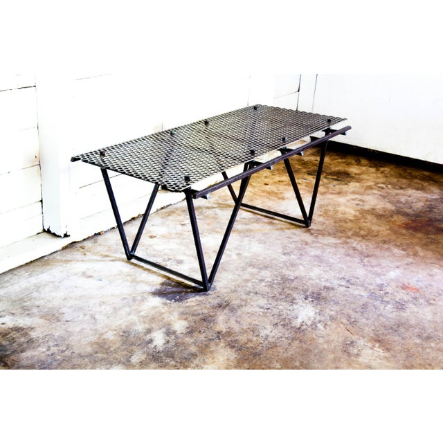 Metal Artisan Made Perforated Metal Modernist Coffee Table Bed Entry Bench Tv Media Stand For Sale - Image 7 of 10