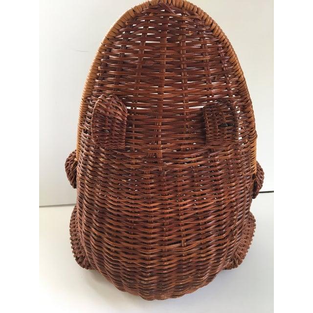 1970s Large-Vintage Natural Wicker Frog Basket For Sale - Image 5 of 12