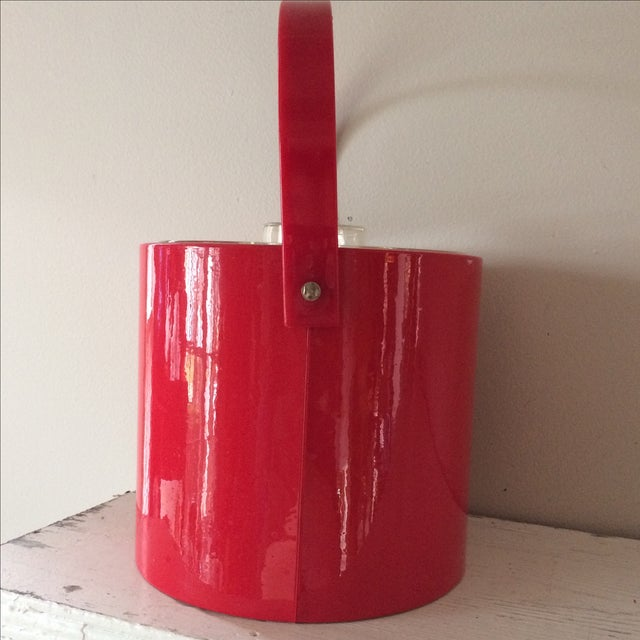 Vintage Red Ice Bucket & Tongs For Sale - Image 5 of 5