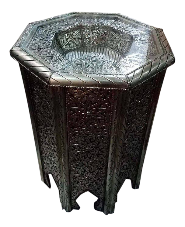 High Quality Moroccan Metal Inlaid Side Table