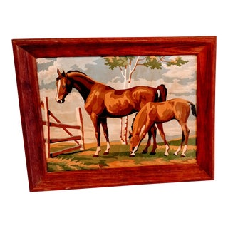 Vintage Mid Century Horse PBN Equestrian Farm Painting by Number For Sale