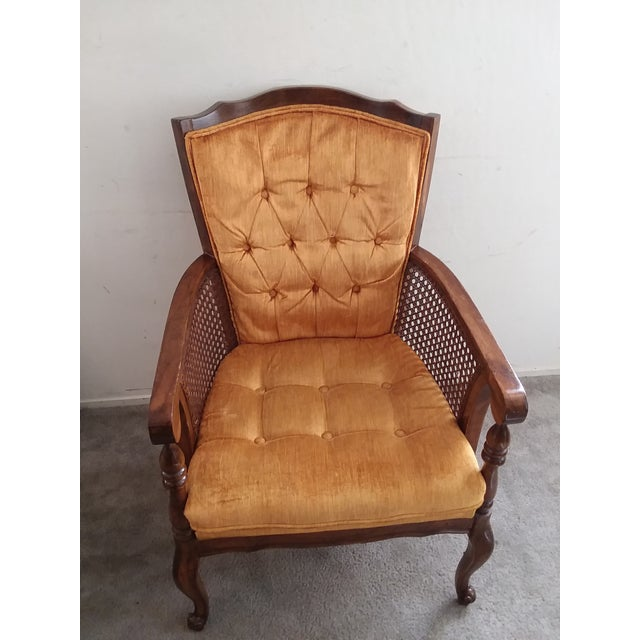 1970's Vintage Hollywood Regency Orange Velvet Wing Chair For Sale - Image 4 of 7