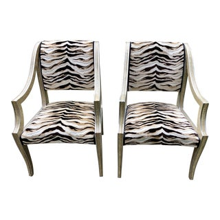 Marge Carson Zebra Chairs - A Pair For Sale