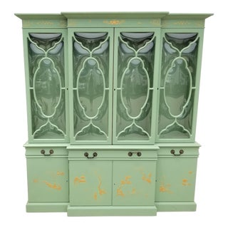 Chinoiserie Karges Asian Bubble Glass China Cabinet For Sale