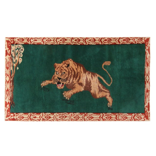 "Textile Vintage Mid Century Tiger Wool Rug-3'5'x6"" For Sale - Image 7 of 7"