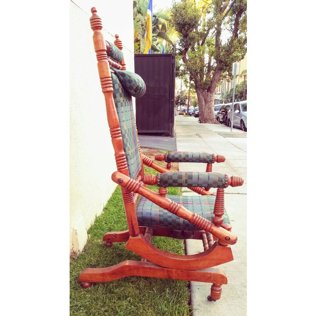 Early 19th Century Antique Eastlake Victorian Turned Walnut Blue Platform Rocking Chair For Sale - Image 5 of 6