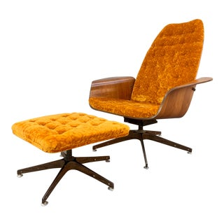 Mr. Chair With Ottoman by George Mulhauser for Plycraft For Sale