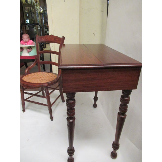 Children's 1930s Children's Spinet Flip Top Walnut Writing Desk with Caned Chair For Sale - Image 3 of 13