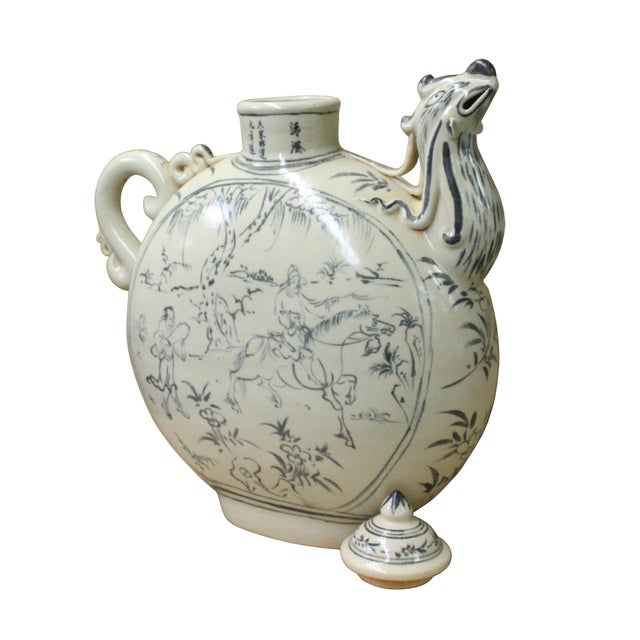 2010s Chinese Oriental Ceramic Cream White Outline Graphic Bird Head Jar For Sale - Image 5 of 8