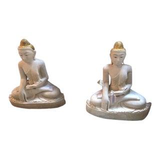 Stone Sitting Buddha Sculptures - A Pair