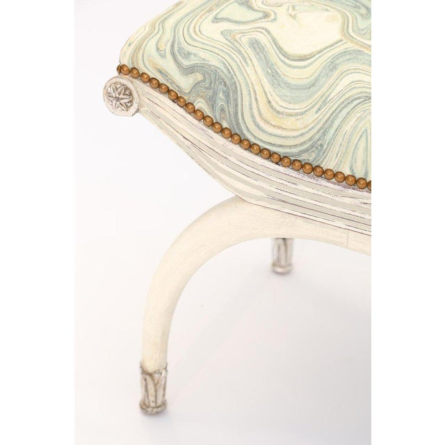 Pair of Painted and Parcel Silver Gilt Curule Stools For Sale - Image 4 of 6