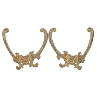 Antique French Bronze Drapery Hardware, Pair For Sale