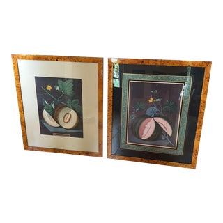 Ariel Press of London Melon Burlwood Framed Prints - a Pair