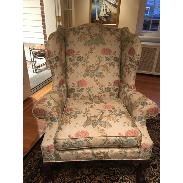 Kindle Floral Motif Wing Chair - Image 3 of 6