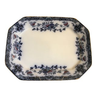 Late 20th Century English Staffordshire Ironstone Blue & White Platter For Sale