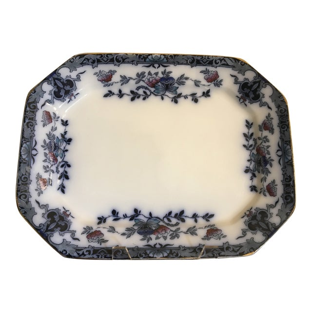 Late 20th Century English Staffordshire Style Ironstone Blue & White Platter For Sale