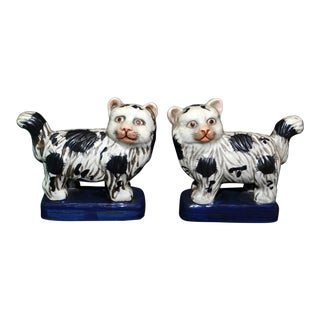 Vintage Staffordshire-Style Cat Figurines - a Pair For Sale