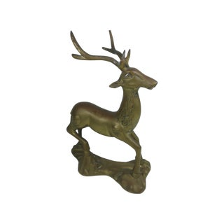 Vintage Brass Reindeer on Base