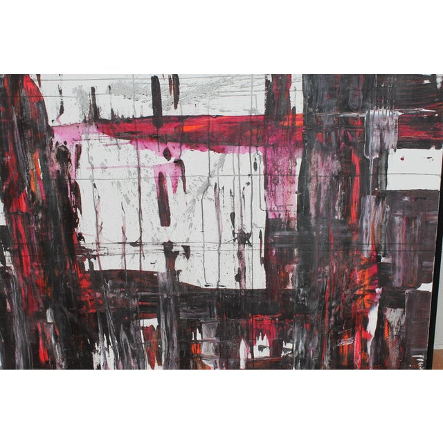"""Abstract acrylic painting on canvas by contemporary artist Jeff House. Painting measures 48"""" wide and 36"""" high."""