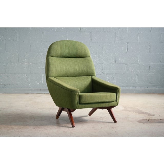 Danish Modern Danish Illum Wikkelso Style High and Low Lounge Chairs by Leif Hansen - a Pair For Sale - Image 3 of 13