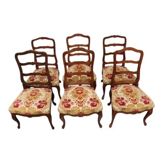 Swiss Walnut Dining Chairs - Set of 6 For Sale