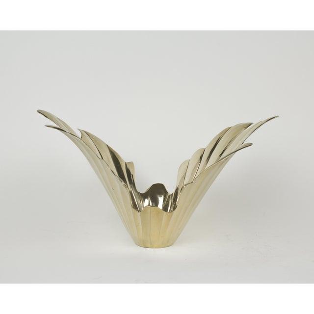 Metal Vintage 1950s Art Deco Style Brass Vase For Sale - Image 7 of 7