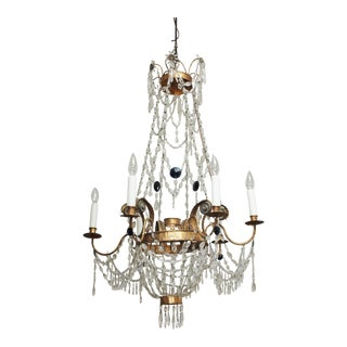 Early 19th Century Tuscan Gilt Tole and Crystal Chandelier For Sale