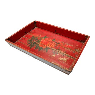 Antique Chinese Red Hand painted Wood Tray For Sale